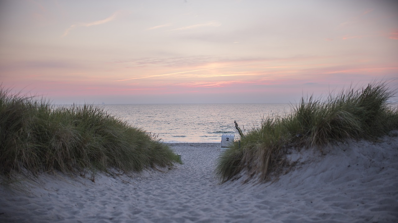 baltic sea, beach, sunset