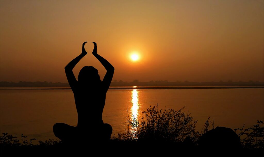 sunset, yoga, woman